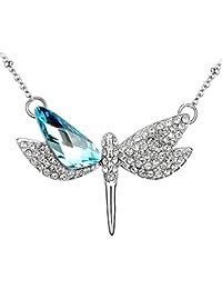 Le Premium® Libelle offene Flügel Anhänger Halskette unregelmäßige Dreieck geformte Swarovski Aquamarine blaue Kristalle