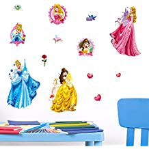 Princesas de Disney 3d pegatinas de pared, vinilo, multicolor