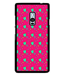 PrintVisa Designer Back Case Cover for OnePlus 2 :: OnePlus Two :: One Plus 2 (Green Hearts In Red Background)