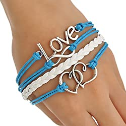 Aaishwarya Love and Double Heart Layered Bracelet For Men & Boys
