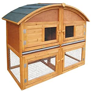 Habau - 1222 - Clapier pour petits animaux - Toit arrondi - Avec escalier et enclos à l'air libre