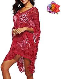 MuRstido Pareo Mujer Bikini Cover Up para Playa Verano Beach Trajes de Baño Cubrir Crochet Vestido