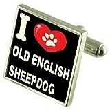Select Gifts Ich liebe meinen Hund 925 Sterling Silber Manschettenknöpfe alten englischen Schafe
