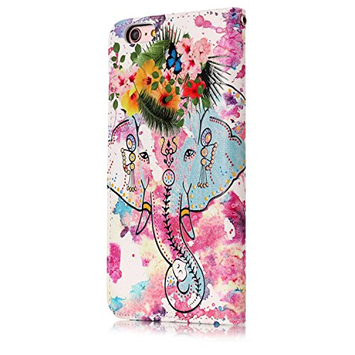 iPhone 6S Plus Hülle,iPhone 6 Plus Hülle,iPhone 6S Plus/6 Plus Ledertasche Handyhülle Brieftasche im BookStyle,SainCat Retro Karikatur Katze Hund Muster PU Leder Hülle Wallet Case Folio Schutzhülle Sc Retro Blumen Elefant