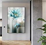 Poster nordic modernAbstract Blaue Blume Leinwand Malerei Moderne babyblau Wandkunst Bild für Wohnzimmer Poster Print nKDFN