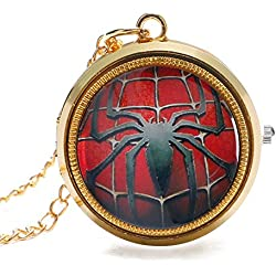 "SPIDERMAN Logo Polished Gold Finish Case Men's Quartz Fob/Pocket Watch Necklace - On 32"" Inch / 80cm Chain"
