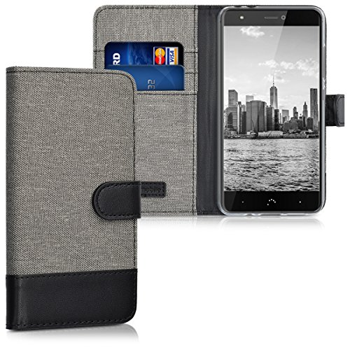 kwmobile bq Aquaris X/X Pro Hülle - Kunstleder Wallet Case für bq Aquaris X/X Pro mit Kartenfächern und Stand