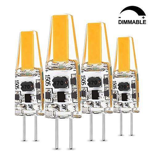 Albrillo Dimmbar G4 LED Lampe - 2W G4 COB LED Birnen, Ersetzt 20W Halogenlampen, 200 Lumen G4 Leuchtmittel, AC/DC 12V, 360° Abstrahlwinkel, Warmweiß 3000K, 4er Pack -