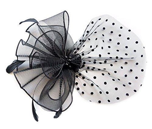 rclip Stirnband Schleier Hochzeit Headwear Braut 1920er Kopfschmuck (Schwarz) (Boardwalk Flapper Kostüm)