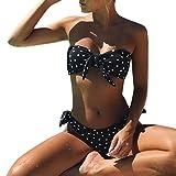 Ba Zha Hei Damen Bikini Teilt Bikini Punkt Drucken Bademode Klassisch Push Up große Größe Bikini set Bademode Dot Pünktchen Bikini Sets mit Rüschen (S, Schwarz)
