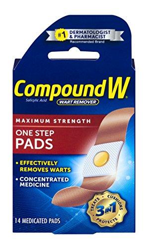 Compound W - Wart Remover, Maximum Strength, One Step Pads, 14 Medicated Pads, Pflaster gegen Warzen, WASSERFEST