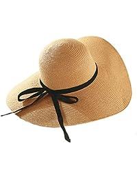 Cappello da sole LHA Visiera Estate Cappello di paglia Donna lungo la  spiaggia Cappello Cappello da ef7d25f1fd37