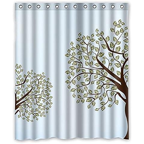 Hermoso rojo hoja de arce y café diseño de patrón de tela de poliéster resistente al agua de baño cortina de ducha de 60
