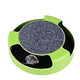 YOUJIA Interaktives Katzenspielzeug, Bewegliche Plüschmaus mit Kratzmatte (Grün)