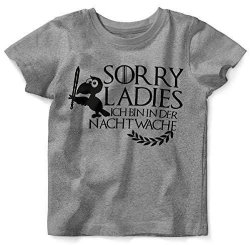 Mikalino Baby/Kinder T-Shirt mit Spruch für Jungen Mädchen Unisex Kurzarm Sorry Ladies ich Bin in der Nachtwache | handbedruckt in Deutschland | Handmade with Love, Farbe:Heather, Grösse:80/86