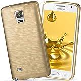 moex Samsung Galaxy Note 4 | Hülle Silikon Gold Brushed Back-Cover TPU Schutzhülle Ultra-Slim Handyhülle für Samsung Galaxy Note 4 Case Dünn Silikonhülle Rückseite Tasche