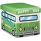 Relaxdays 10020376_545 Coffre à Jouets Boîte à Jouets Pliant Tabouret Pouf Enfant Pliable Faux Cuir Bus Content 32 x 42 x 32 cm