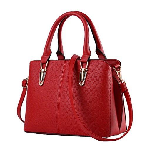 YAANCUN Damen Klassische Elegant Handtaschen Kunstfell Handtaschen Handtasche Abend Partei Wein Rot (Wein-rot-handtasche)