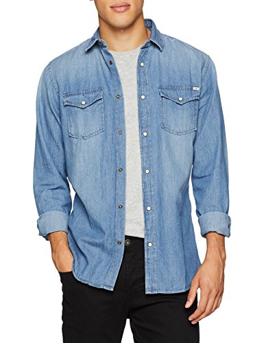 Jack & jones jjesheridan shirt l/s, camicia in jeans uomo, blu (medium blue denim fit:slim)