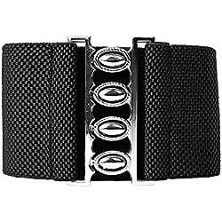 Cinturón de Vestidos Mujeres Elástico Cinturón Ancho Vintage Negro Estilo 2 Plus 2XL