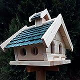 Naturholz-Schreinermeister Vogelhaus XL Vogelhäuser Vogelfutterhaus Vogelhäuschen aus Holz Wetterschutz Putzklappe (Grün)