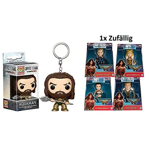 2 unidades de Funko POP. Llavero Justice League – Aquaman + 1 figura aleatoria de DC Justice League Wonder Woman Die-Cast metal 13 x 16 cm 3