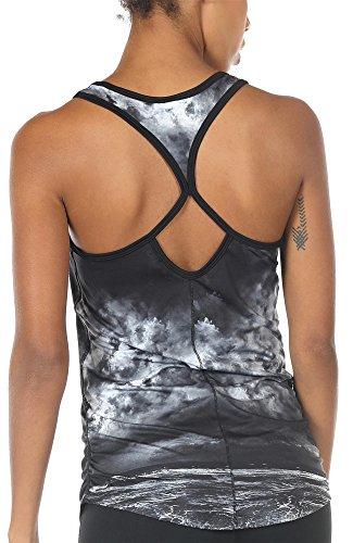 icyzone Damen Yoga Sport Top Lang - Fitness Gym Laufen Shirt Running Tanktop Vest (L, Storm)