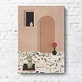 RTCKF Pintura Decorativa Minimalista Moderna geométrica arquitectónica Creativa Paisaje Hotel apartamento Morandi Pintura en Color sin Marco B2 40cmx60cm