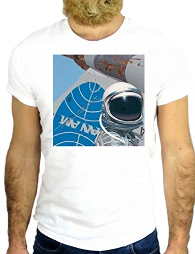 T SHIRT Z0736 PAN AM SPACE COOL VINTAGE ROCK BIG BANG USA AMERICA FUN GGG24 BIANCA - WHITE