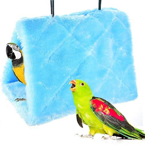 MATT SAGA Nido D'uccello Pappagallo d'inverno Caldo Amaca Appesa Grotta Gabbia Peluche Pappagallo Giocattolo Letto Capanna Tenda (M, Blu)