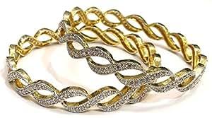 Shingar Jewellery Daily Wear American Diamond A.d. Bangles Churi Kada Kangan Set In 2.4 Size For Women (6890-2.4-jb-a-1)