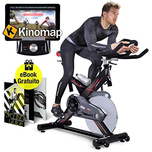Sportstech SX400 Cyclette Professionale Ergometro Controllo per Applicazione Smartphone, Peso di inerzia 22 kg, Supporto per Braccia, Cardiofrequenzimetro Compatibile, 150 kg Max E-Book Gratis