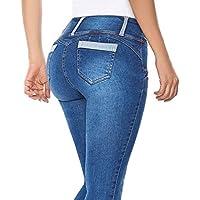 hongxin Mujeres Cintura Alta Flaco Elásticos Mezclilla Pantalones Leggings,Durable Multi-Estilo Delgado Pantalones Ajustados con Botones