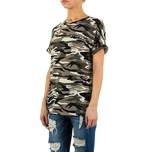 Destroyed Camouflage Shirt Für Damen bei Ital-Design Khaki