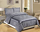 LUXURY 3PCS( Piece) Jacquard KING( 240X260 CM) + 2 PILLOW SHAMS Quilted Bed Spread Bedspread Comforter Set (King (240x260 CM), Betty Dark Gray)