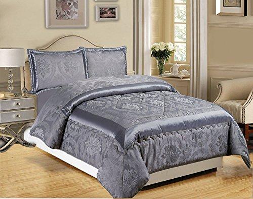 3-teiliges Luxus-Bettwäsche-Set, Jacquard, gesteppte Tagesdecke, Größe Doppelbett/King Size, Betty Dark Gray, Double (220x240 CM)