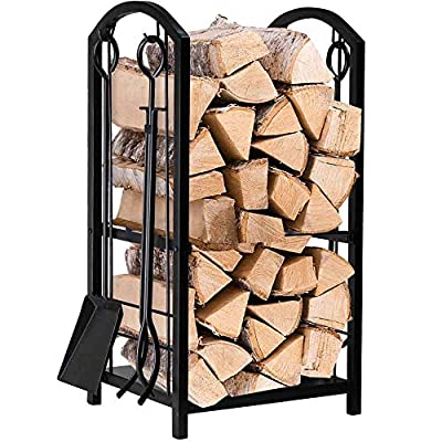 Fireplace Log Rack 16 x 29.2 x 12inch with 4 Fireplace Tools Wrought Iron Firewood Holders Indoor Wood Stove Outdoor Fireplace Heavy Duty Wood Stacking Fireplace Wood Storage Kit for Fireplace Tool