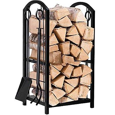 Amagabeli rack di legna da ardere con 4 strumenti 74 x 40 x 30cm grande capacità cremagliera del camino porta legna da ardere per stufa a legna set di strumenti per il camino porta legna da ardere