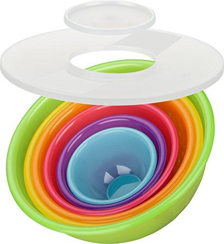 Kigima Schüsselset Rainbow 8-teilig Salatschüssel, Rührschüsseln (5X Schüsseln 0,5l/0,75l/1,6l/3,6l/6,0l, Spritzschutzdeckel und Sieb) (Salat Schüssel Grosse Kunststoff)