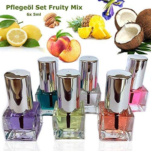 EuBeCos Nagel Pflegeöl Set Fruity Mix 6 x 5ml ANGENEHM FRUCHTIG UND VEGAN - MADE IN GERMANY! -