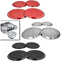 4pcs Hob Covers Reusable Stainless Steel Kitchen Oven Cooker Ring Protector Metal Covers (Silver)