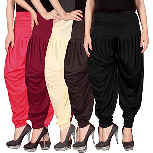 Culture the Dignity Women\'s Lycra Dhoti Patiala Salwar Harem Pants CTD_00PMCB2B_2-PINK-MAROON-BEIGE-BROWN-BLACK-FREESIZE -Combo Pack of 5