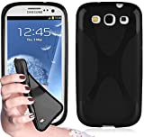 Cadorabo Hülle für Samsung Galaxy S3 / S3 NEO - Hülle in OXID SCHWARZ – Handyhülle aus flexiblem TPU Silikon im X-Line Design - Silikonhülle Schutzhülle Soft Back Cover Case Bumper