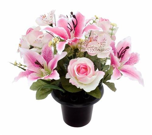 Rosen Lilien & Alstromeria Grabschmuck Blumenarrangement, Kunstseide/ Memorial zum in Vase einfügen rose (Grab Blumen Kranz)