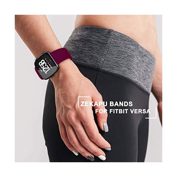 Zekapu para Fitbit Versa Correa, Bandas Repuesto Ajustable Pulsera TPU Sport Accesorio Pulsera para Fitbit Versa Pequeño Grande, 12 Colores 6