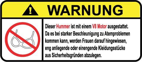 Hummer V8 Motor German Lustig Warnung Aufkleber Decal Sticker