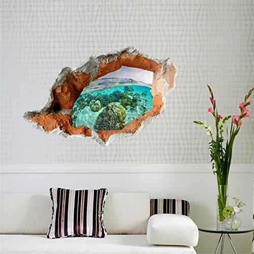 Inovey 3D Unter Wasserwelt Wandaufkleber Abnehmbare Szenerie Wandaufkleber Home Wand Dekor (590 Ziehen)