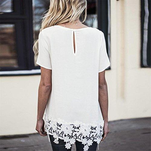CYBERRY.M T-shirt Été Casual Femme Manches Courtes Col Rond Dentelle Fleur Blouse Tee Dress Blanc