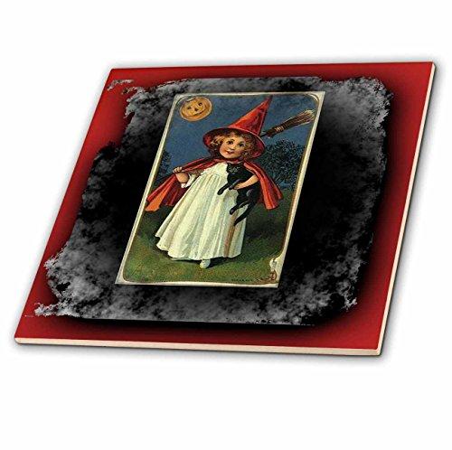 tage Halloween Hexe Mädchen und Schwarze Katze Keramikfliese, 20,3 cm ()