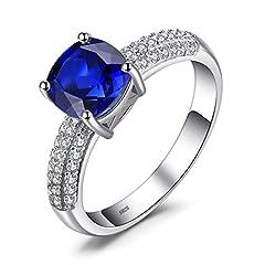 Idea Regalo - JewelryPalace Donna Gioiello Cuscino 2.6ct Creato Zaffiro Blu Solitario Anello di Fidanzamento Argento Sterling 925
